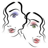 Faces of Women Clip Art 3. An abstract art portrait of 2 women's faces in black outlines and colored eyes and lips as cosmetics showing half their faces side by Royalty Free Stock Image
