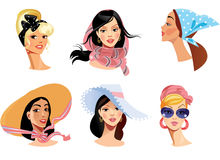 Faces of women in different head wear vector illustration