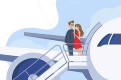 Facet i dziewczyna iść downstairs od samolotu Obrazy Royalty Free