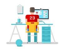 Facet komunikuje online na komputerze ilustracji