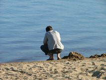 facet na plaży Fotografia Stock