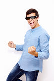 Facet odświętności wygrana w 3D TV szkłach Obraz Stock