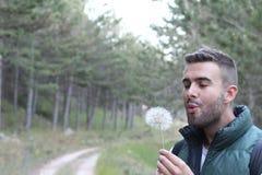 Facet ono uśmiecha się wokoło dmuchać na białym dandelion w lesie z kopii przestrzenią obrazy stock