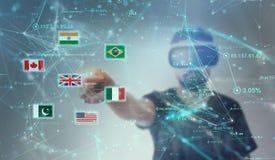 Facet patrzeje przez VR rzeczywistości wirtualnej szkieł - Anglia Obraz Stock