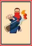 Facet rzuca Koktajl mołotowa. plakat Obrazy Royalty Free