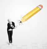 Facet w ciało masce z dużej ręki rysującym ołówkiem Fotografia Stock
