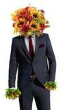 Facet z bukietem kwiaty Obraz Stock