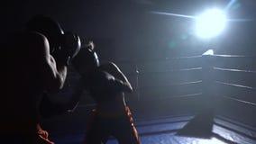 Facet z dziewczyną przygotowywa dla kickboxing rywalizaci swobodny ruch zbiory wideo