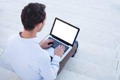 facet z laptopa handlowa Fotografia Stock