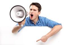 Facet z megafonem i biała deska Zdjęcia Stock