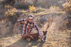 Facet z psem Obraz Stock