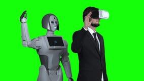 Facet z szkłami rzeczywistość wirtualna podnosi jego rękę w górę i macha robot powtórki po on zielony ekran swobodny ruch zbiory