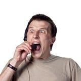 faceta gniewny telefon Zdjęcia Stock