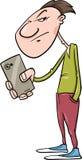 Faceta krótkopęd z smartphone kreskówką Zdjęcie Stock