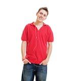 faceta smiley słuchający muzyczny Zdjęcie Royalty Free