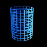 Faceted blue 3d cylinder Stock Photography