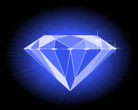 Faceted blue diamond. On an black background Stock Photography
