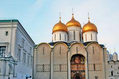 Faceted Chamber and Dormition church of Moscow Kremlin. Color photo. Royalty Free Stock Images