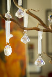 Faceted crystal Christmas decorations Stock Photos