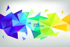 Faceted 3d crystal colorful shape, banner, horizontal orientation. Low poly stock illustration