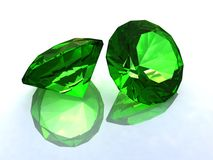 The faceted emeralds. On a white background Royalty Free Stock Photos