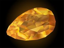Faceted fire opal. Beautiful shiny gemstone on dark background royalty free illustration