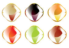 Faceted gemstones with gold fastener Royalty Free Stock Image