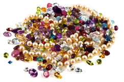 Faceted gemstones with pearls Royalty Free Stock Photos