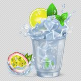 Faceted Glass with Cocktail and Ice, Fresh Lemon. And green spearmint, passion fruit isolated vector illustration on transparent background Stock Images