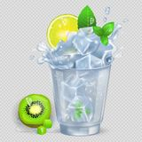 Faceted Glass of Mojito with Ice Illustration. Faceted glass of mojito with lot of ice, fresh lime, green spearmint and kiwi  vector illustration on transparent Stock Photos