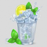 Faceted Glass of Mojito with Ice Illustration. Faceted glass of mojito with lot of ice, fresh lime and green spearmint isolated vector illustration on Royalty Free Stock Images