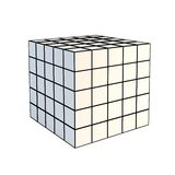 Faceted white 3d cube. Isolated faceted white 3d cube Royalty Free Stock Photos