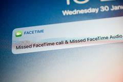 FaceTime missed calls notifications stock photography