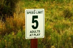 Faceto, adulti al segnale stradale del gioco Fotografia Stock