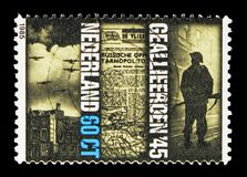 Facets of the War 1940-1945 Allies 1945, Resistance and Liberation serie, circa 1985. MOSCOW, RUSSIA - MAY 13, 2018: A stamp printed in Netherlands shows Facets royalty free stock photo