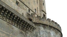 Fachada antigua del castillo de Maschio Angioino en Nápoles, arquitectura, herencia almacen de metraje de vídeo