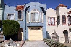 Fachada azul de la casa de San Francisco Imágenes de archivo libres de regalías