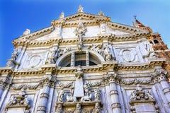 Fachada barroco Veneza Itália da igreja de San Moise Profeta fotografia de stock royalty free