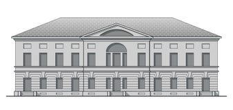 Fachada clásica del Grayscale del edificio antiguo Casa histórica en estilo linear stock de ilustración