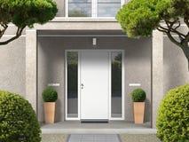 Fachada clássica da casa do estilo com portal e porta da rua da entrada ilustração royalty free