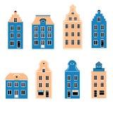 Fachada colorida de las casas escandinavas del burgher, ejemplo del vector aislado en el fondo blanco, arquitectónico europeo libre illustration