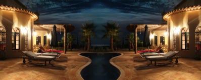 Fachada con las luces y la piscina fotos de archivo