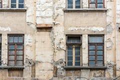 Fachada constructiva abandonada Imagen de archivo libre de regalías