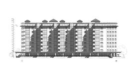 Fachada constructiva de varios pisos, dibujo técnico arquitectónico detallado, modelo del vector ilustración del vector