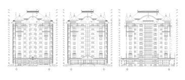 Fachada constructiva de varios pisos, dibujo técnico arquitectónico detallado, modelo del vector stock de ilustración