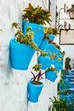 Fachada da casa com as flores em uns potenciômetros azuis em Mijas, Espanha Fotografia de Stock