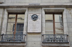 Fachada da casa de Rousseau em Genebra Imagens de Stock Royalty Free