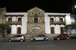 Fachada da casa da liberdade na noite, sucre, Bolívia fotografia de stock royalty free
