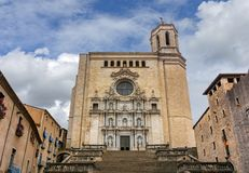 Fachada da catedral de Girona, Catalonia, Espanha imagens de stock