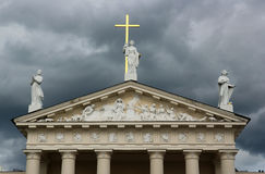 Fachada da catedral de Vilnius, Lituânia Imagens de Stock Royalty Free
